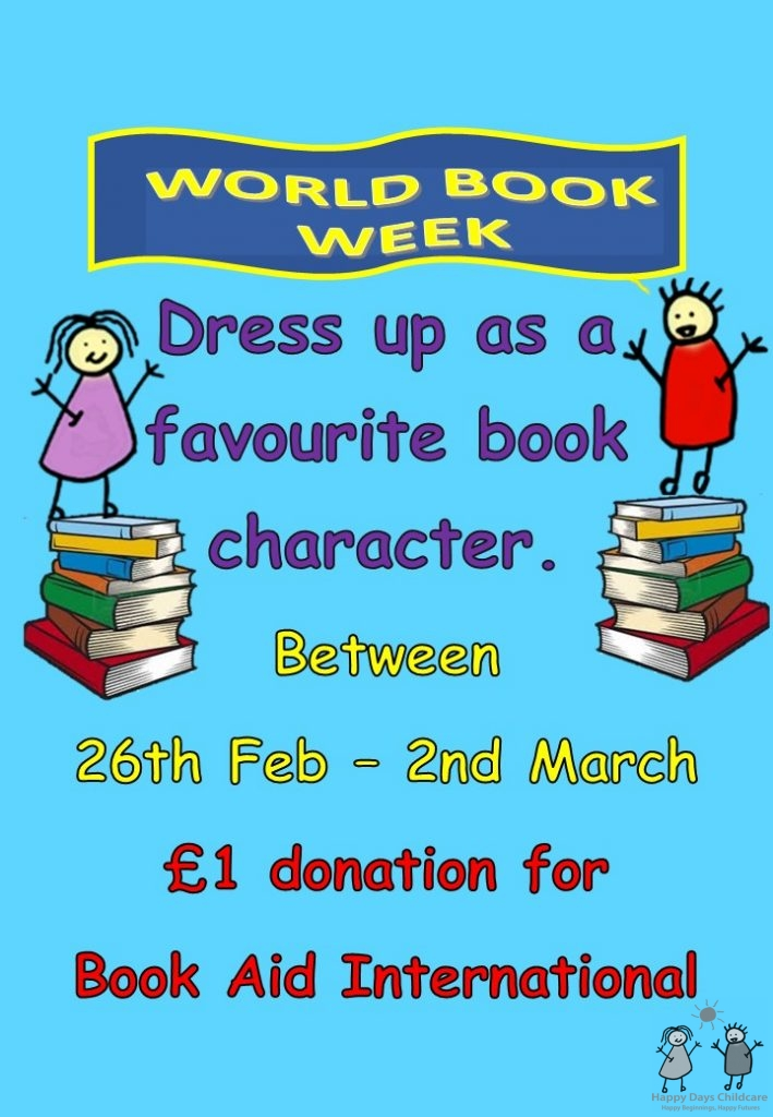 Dress as favourite book character in World Book Week 26th Feb to 2nd Mar 2018 at Happy Days Childcare, Suffolk