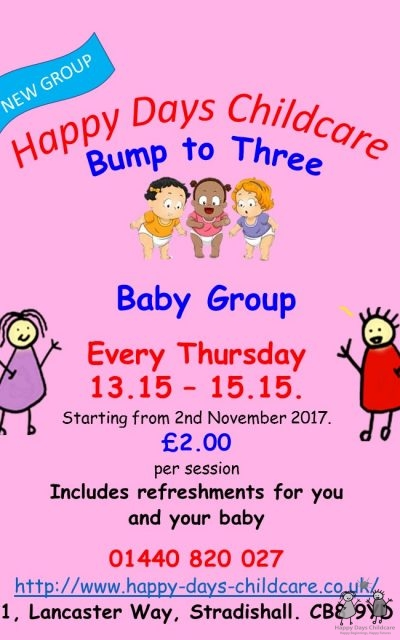 Bump to Three – Happy Days Childcare group for mothers (& others) of under 3s!